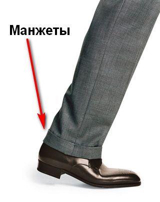 Манжеты на брюках. Классические брюки с манжетами. Прямые 88